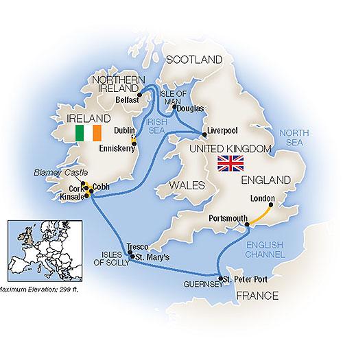 Itinerary map of Treasures of the British / Irish Isles - Eastbound