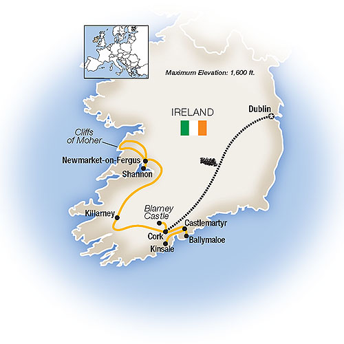Itinerary map of Ireland Forever