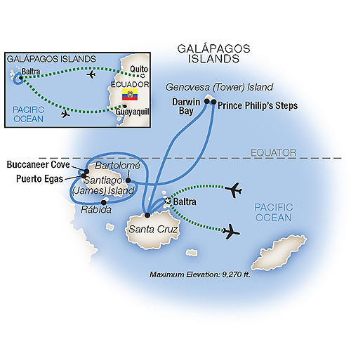 Itinerary map of Galápagos: Wildlife Wonderland