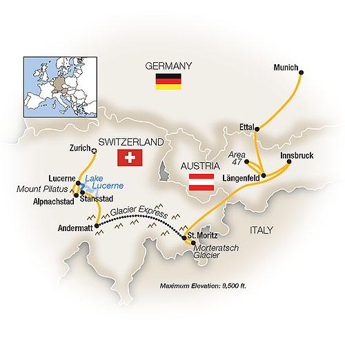 Itinerary map of Alpine Adventure