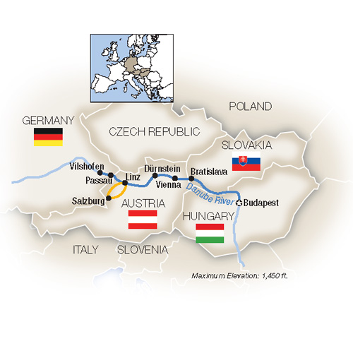Itinerary map of Blue Danube: Family Riverboat Adventure - Westbound