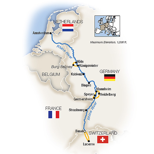 Itinerary map of Castles on the Rhine: Family Riverboat Adventure - northbound