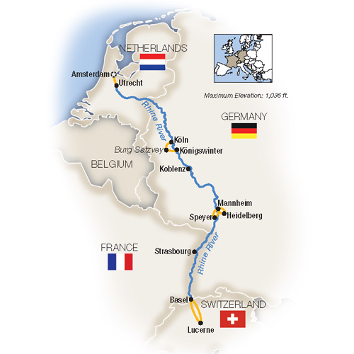 Itinerary map of Castles on the Rhine: Family Riverboat Adventure - Southbound