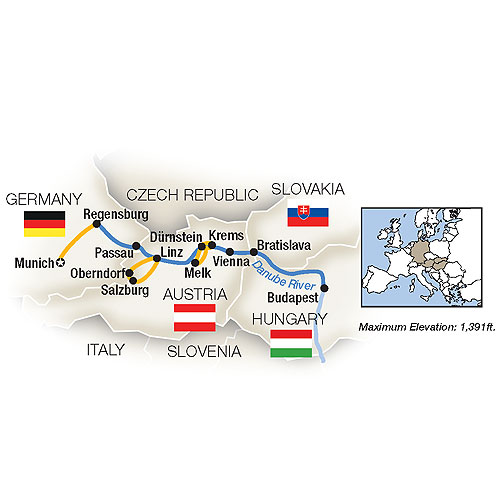 Itinerary map of Holiday Magic: Danube Family River Cruise - Eastbound