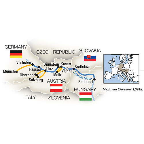 Itinerary map of Holiday Magic: Danube Family River Cruise - Westbound