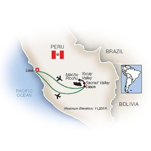 Itinerary map of Mystical Peru