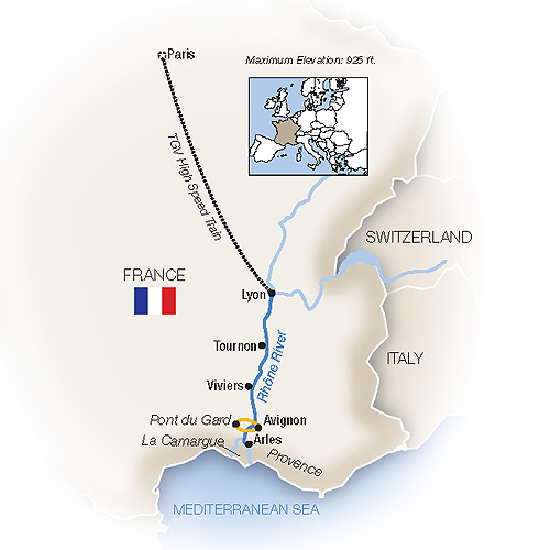 Itinerary map of Bon Voyage! France Family River Cruise