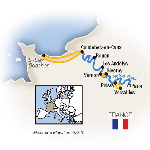 Itinerary map of Family Fun Along The Seine: Paris To Normandy