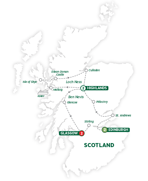 Itinerary map of Best of Scotland 2019