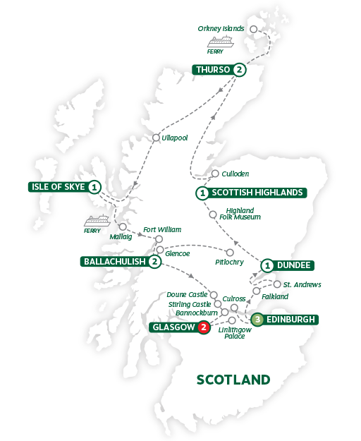Itinerary map of Highland Trail inspired by Outlander 2019