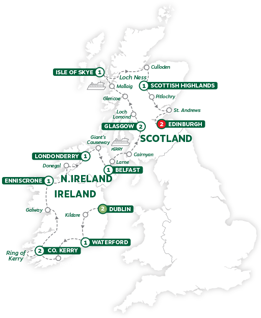 Itinerary map of Best of Ireland and Scotland 2019
