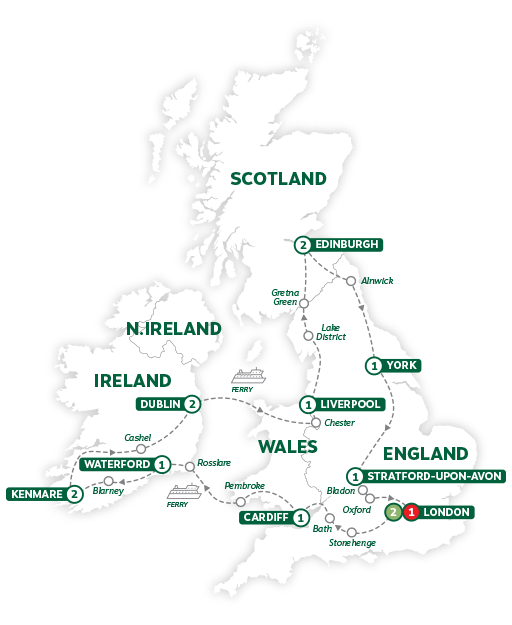 Itinerary map of Wonders of Britain and Ireland 2019