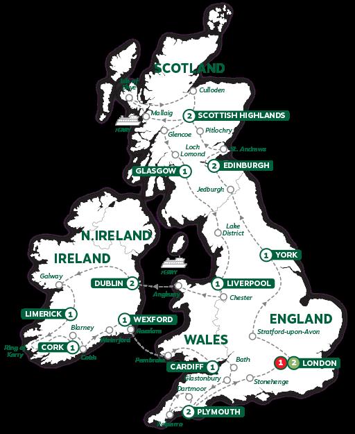 Itinerary map of Britain and Ireland Panorama 2019
