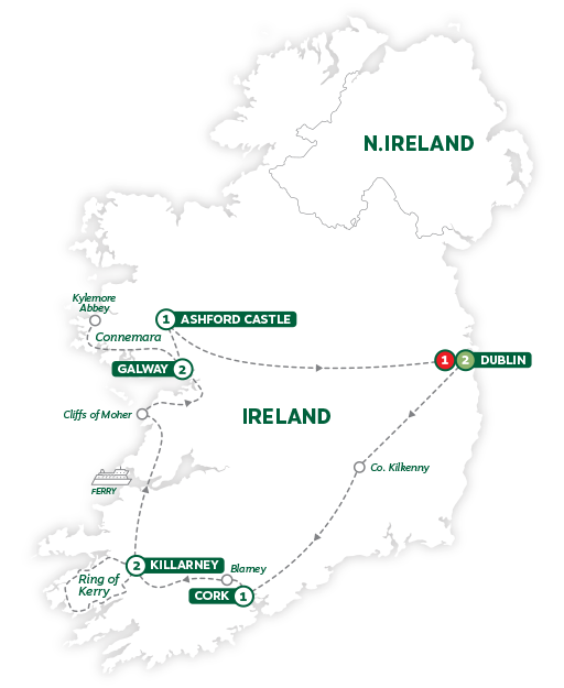 Itinerary map of Iconic Ireland and Ashford Castle 2019