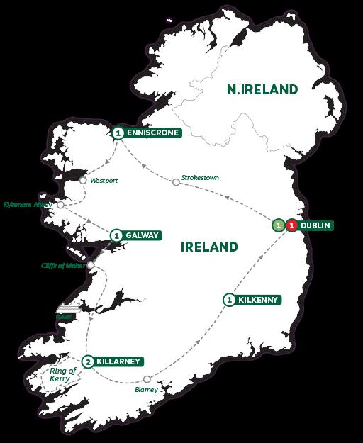 Itinerary map of Enchanting Emerald Isle 2019