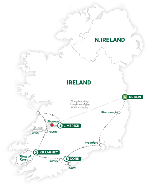 Itinerary map of Treasures of Ireland End Dublin 2019