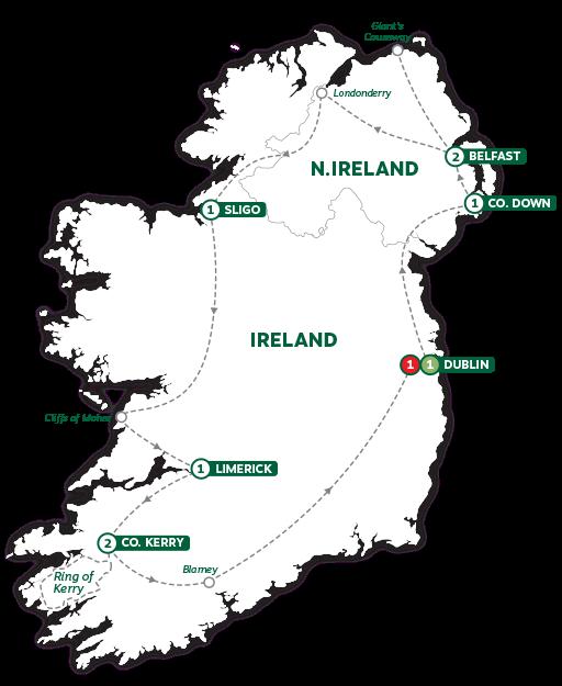 Itinerary map of Shamrocks and Leprechauns 2019