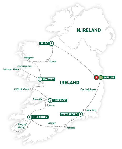Itinerary map of Best of Ireland 2019
