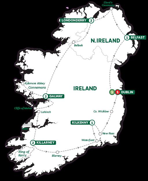 Itinerary map of Irish Experience 2019