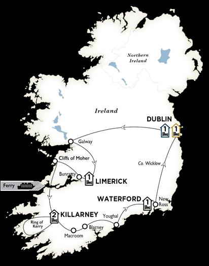 Itinerary map of Irish Highlights