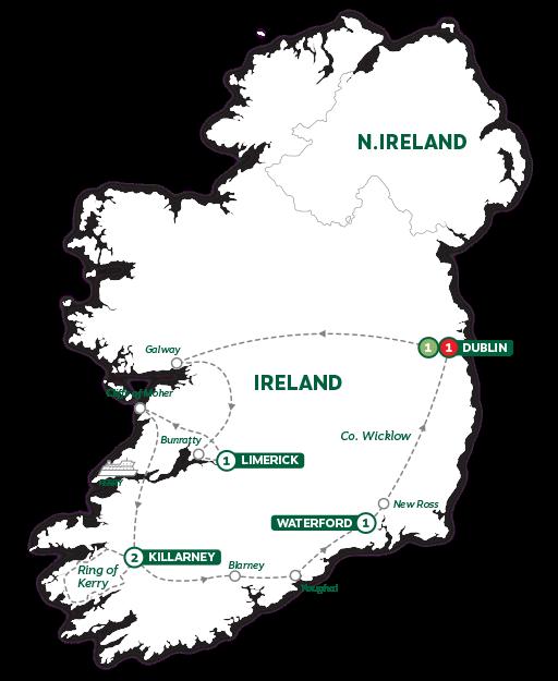 Itinerary map of Irish Highlights 2019