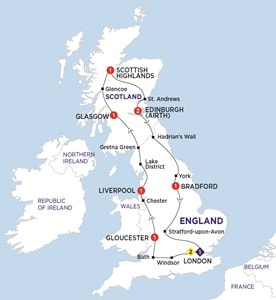 Itinerary map of England and Scotland Heritage Summer 2019