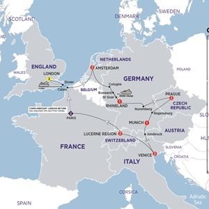 Itinerary map of European Adventures Summer 2019