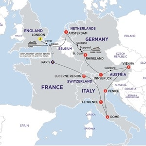 Itinerary map of European Impressions Summer 2019