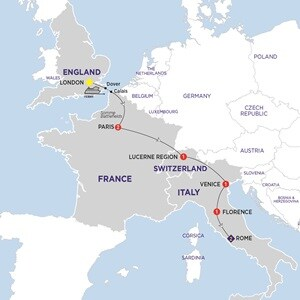 Itinerary map of London to Rome Highlights Summer 2019