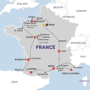 Itinerary map of Highlights of France Summer 2019