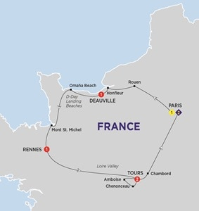 Itinerary map of Jewels of France including Normandy Summer 2019