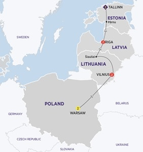 Itinerary map of Highlights of the Baltics New Summer 2019