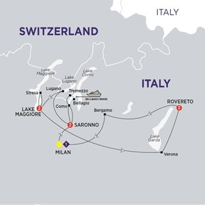 Itinerary map of Highlights of the Italian Lakes Summer 2019