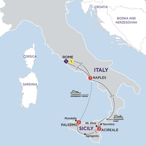 Itinerary map of Highlights of Sicily Summer 2019