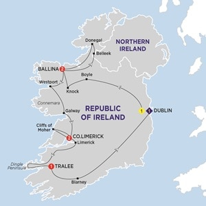 Itinerary map of Irish Wonder Summer 2019