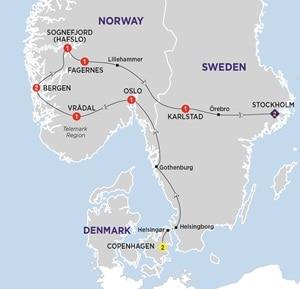 Itinerary map of Highlights of Scandinavia Summer 2019