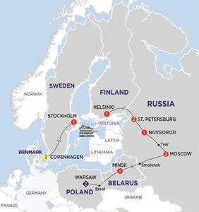 Itinerary map of Cossack Explorer Summer 2019