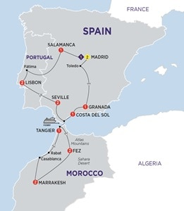 Itinerary map of Highlights of Spain Morocco and Portugal Summer 2019