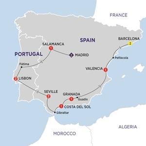 Itinerary map of Iberian Explorer Summer 2019