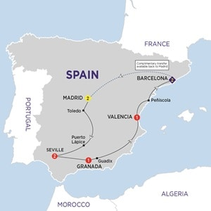 Itinerary map of Spanish Experience Summer 2019