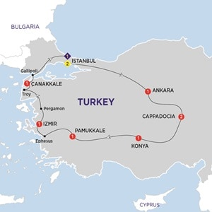 Itinerary map of Wonders of Turkey Summer 2019