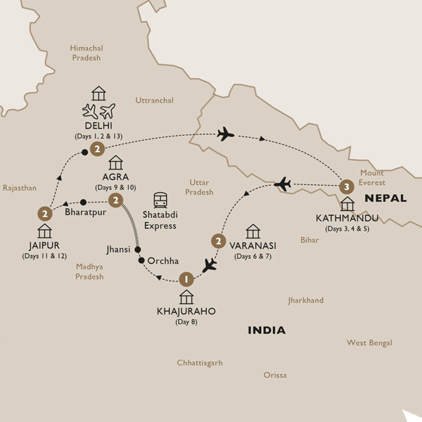 Itinerary map of Classical India with Nepal end Delhi (Summer 2019)