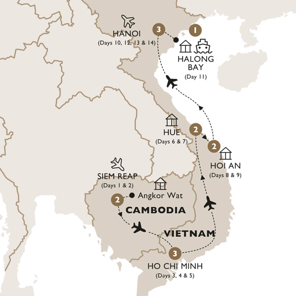Itinerary map of Cambodia & Vietnam in Style (Summer 2019)