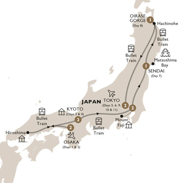 Itinerary map of Majestic Japan (Summer 2019)