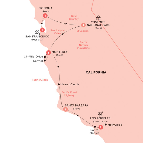 Itinerary map of Best of California (Summer 2019)