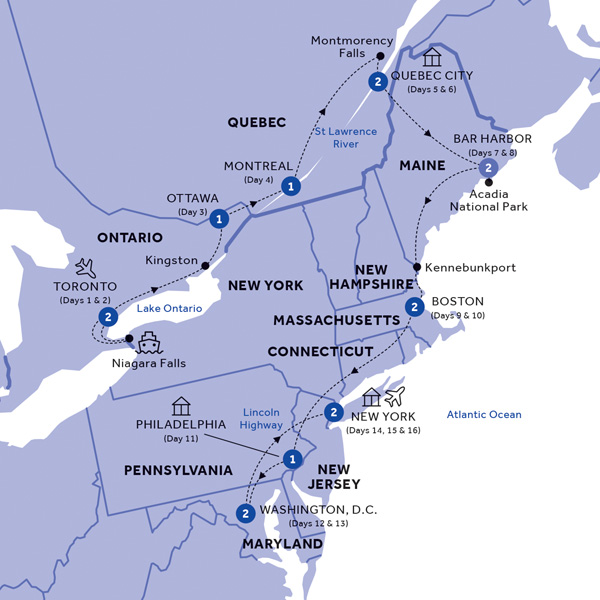 Itinerary map of Best of Eastern Canada and USA (Summer 2019)