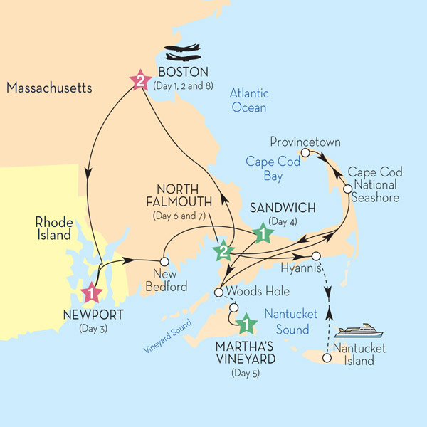 Itinerary map of Boston Cape Cod and the Islands (Summer 2018)