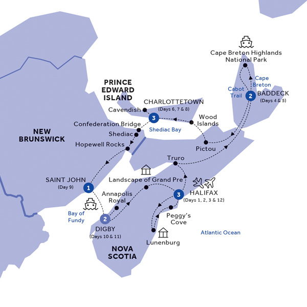 Itinerary map of Landscapes of the Canadian Maritimes (Summer 2019)