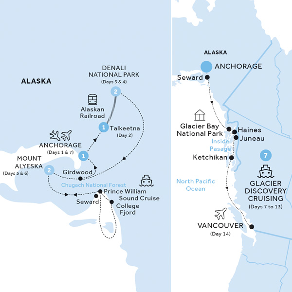Itinerary map of Jewels of Alaska and Cruise Inside Stateroom (Summer 2019)