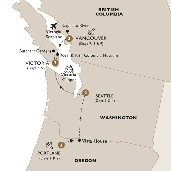 Itinerary map of America's Captivating Pacific Northwest (Summer 2019)